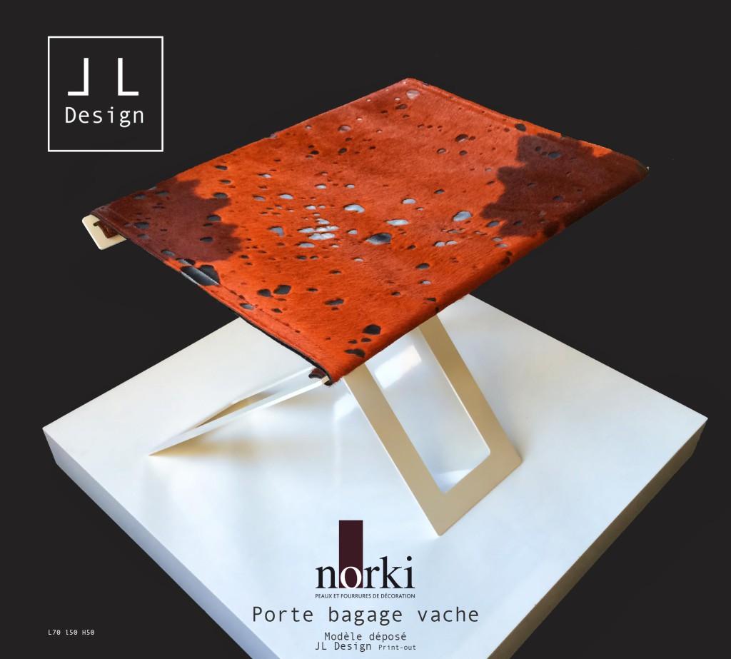 JL Design et NORKI présentent leur nouvelle Collection de support-bagage. Pieds acier laqué epoxy, housse réversible et interchangeable en peau. Ce porte-bagages s'adapte à la décoration des chambres - coloris des peaux et du pied sur-mesure. cowhide luxury product for hotel