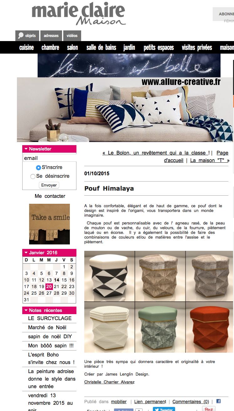 MARIE CLAIRE MAISON STOOL HIMALAYA